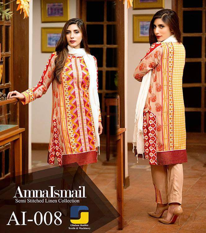 Amna Ismail Ai-008 Stitched Linen 3 Piece with Pashmina Shawl